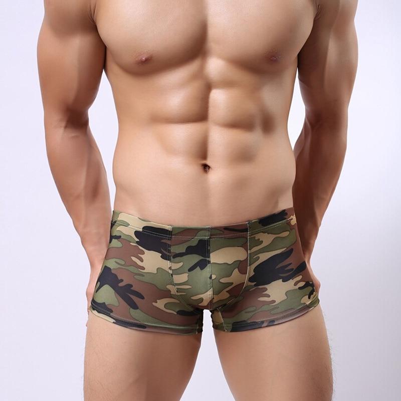 Men Camouflage Underwear New Fashion Boxer Mens Homme Cueca Underpants Army Green Camo Gay Cueca Boxershorts Sexy Underpants