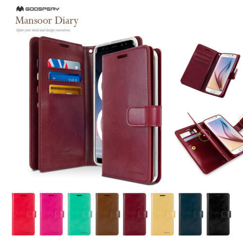 100% Genuine Mercury Goospery Mansoor Diary Card Slots Wallet Case Flip Cover For iPhone X 5 5S SE 6 6S 7 8 Plus 10