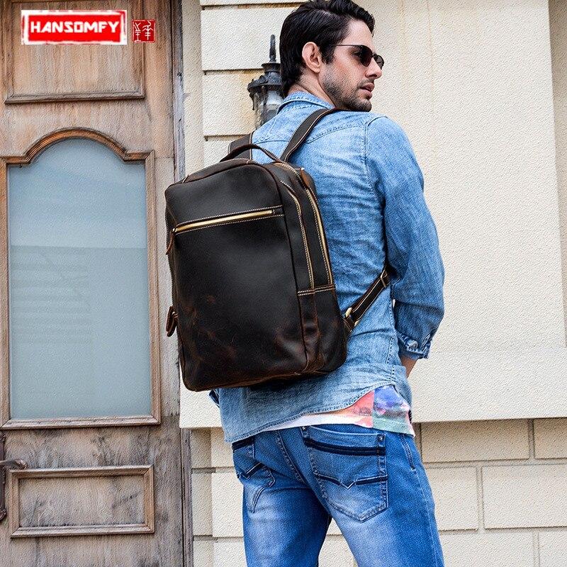 Мужской рюкзак прочный Crazy Horse кожа мужские сумки на плечо верхний слой кожа Повседневная Большая емкость Мужской рюкзак для ноутбука