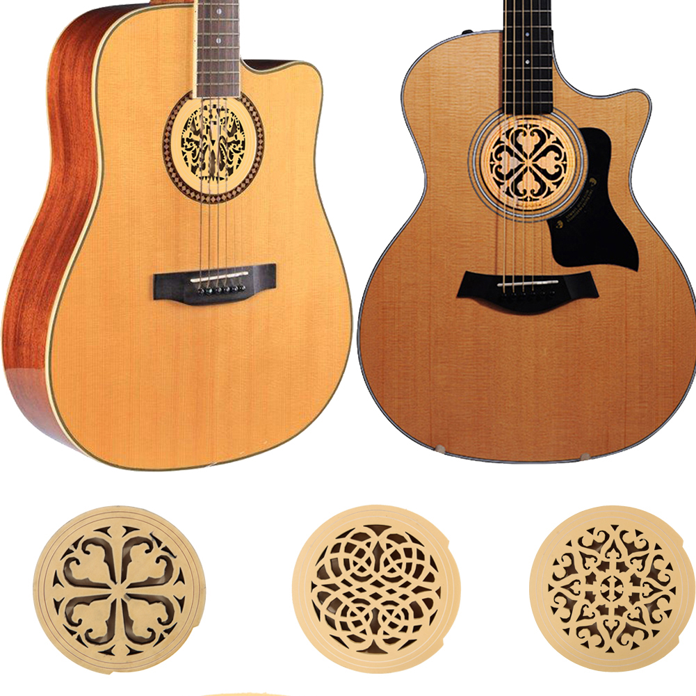 High Quality 6 Style Printed Wood Sound Hole Cover Block Plug Screeching Halt for 41 inch Acoustic Guitar Parts & Accessories high quality clip on sound pickup microphone wire 12 hole acoustic electric guitar pick up transducer amplifier accessories new