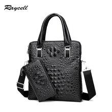 RAYCELL PU Leather Men Briefcase Crossbody Bag Messenger Bag Business Alligator Men Bags for gift Shoulder Bag Men Tote