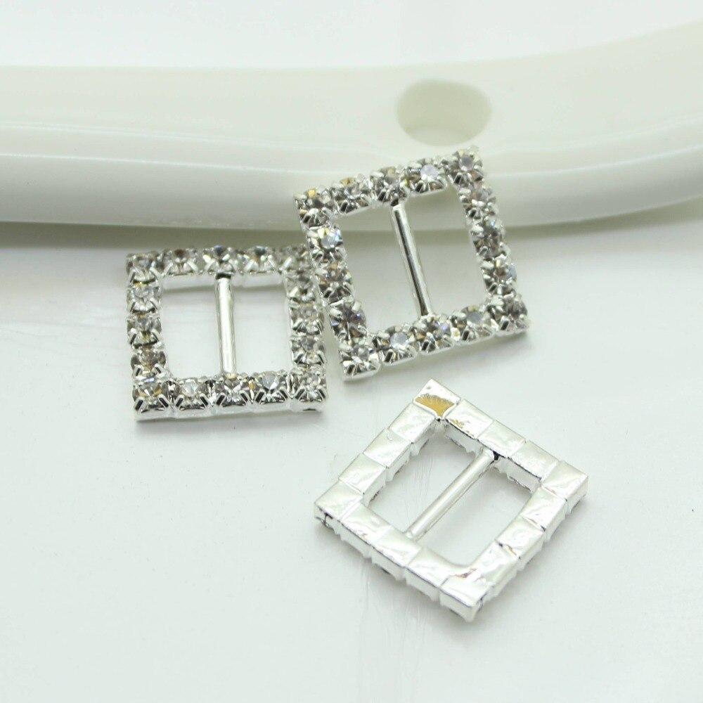 50pcs/lot 15mm Square Rhinestones Buckles Factor Outlets Diamond Buckle Invitation Diy Ribbon Accessores Wedding Decorative