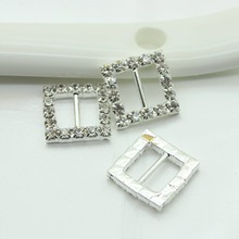 50pcs/lot 15mm Square Rhinestones Buckles Factor Outlets Diamond Buckle Invitation Diy Ribbon Accessores Wedding Decorative(China)