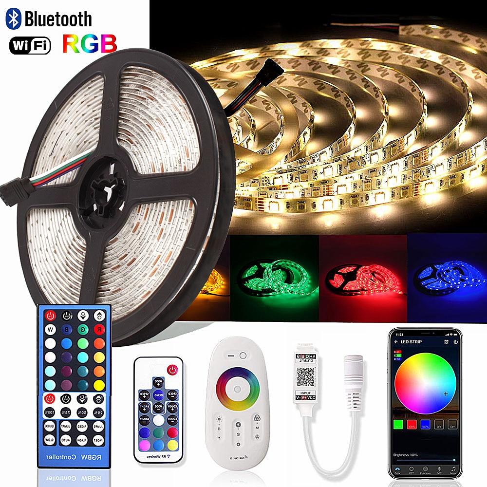 Bluetooth SMD RGB RGBW Светодиодная лента 5050 Диодная лента 12 в 2,4G RF WiFi контроллер 5 м неоновая Светодиодная лента Ambilight TV Водонепроницаемая светодиодн...