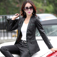 Leather Jackets For Women Suede Biker Ladies Patchork Synthetic Lether V-neck Brand Factory Direct Faux Leather Jacket