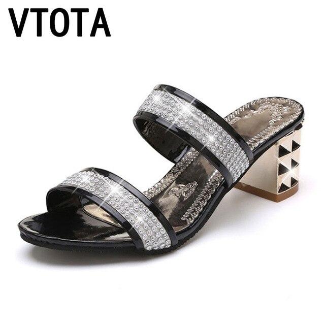 63b0ed6eb25d00 VTOTA mode strass pantoufle femmes 2018 été sapato feminino Sexy femmes  sans lacet pantoufles femme chaussures femme glisser B69