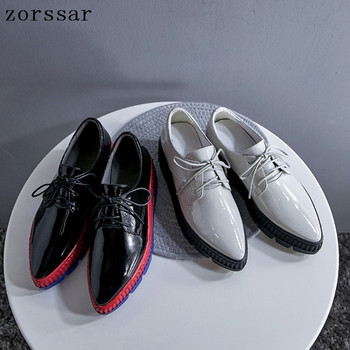 2019 Women Flat Platform Sneakers Shoes Ladies Patent leather Thick bottom Casual Shoes Lace up Flats Pointed toe shoes creepers