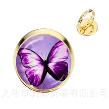 New Beautiful Purple Butterfly Rings Art Picture 16mm Glass Cabochon Dome Silver/Golder Plated 2 Color Adjustable Rings(China)