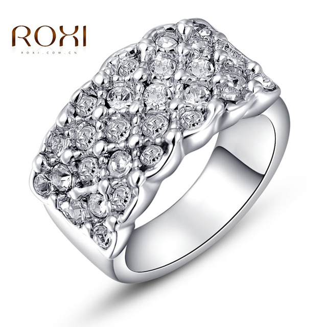 ROXI Engagement Rings bague femme White Crystal Paved Promise Rings Rose Gold Love Rings for Women Jewelry anillos mujer