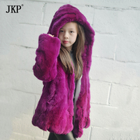Winter Children's Natural Rex Rabbit Fur Coat For Girls Fur Jacket Thicker warm clothes TTWT 01