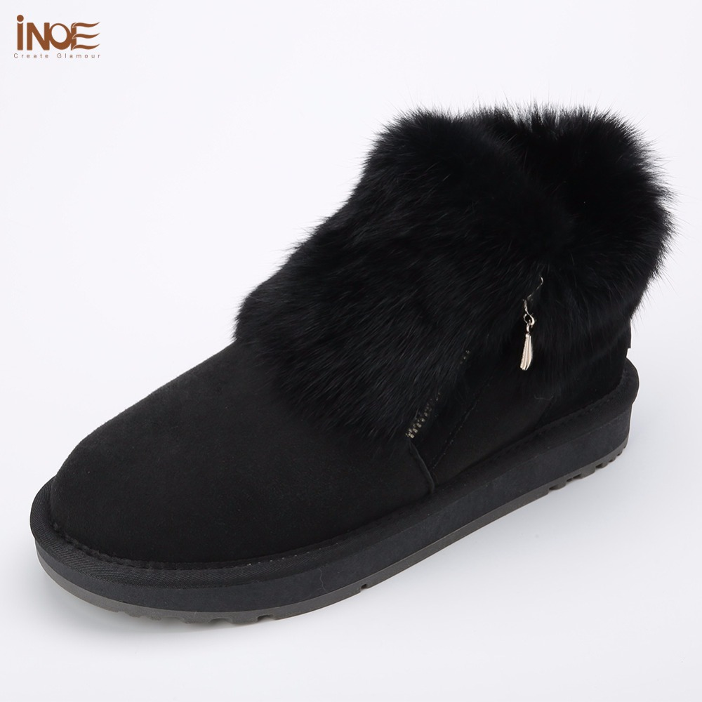 Details about women luxury diamond fashion snow boots rabbit fur boots - Inoe 2017 New Fashion Cow Suede Leather Big Girls Rabbit Fur Winter Short Ankle Snow Boots