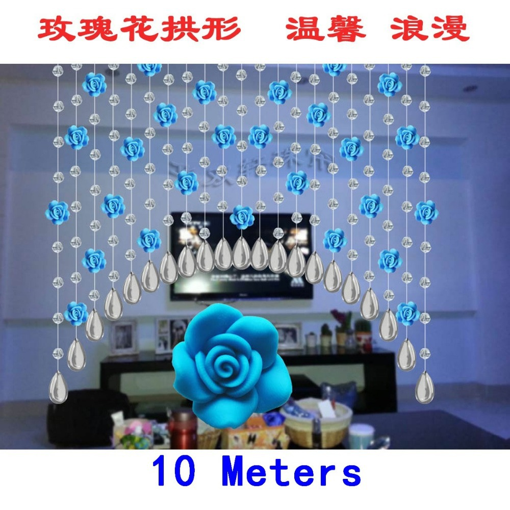 Teal curtain beads - 10 Meters Rose Curtain Crystal Bead Curtain Partition Entranceway Beaded Fringe For Curtains