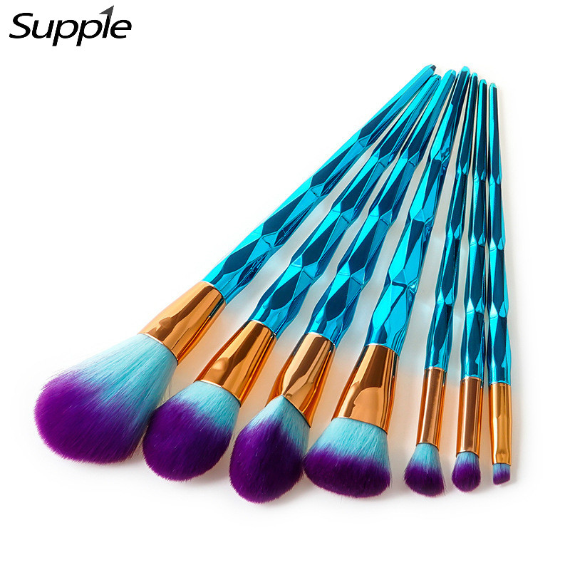 4/7/10Pcs Brush Makeup Brushes Set New Rhinestone Tools Powder Foundation Eye Lip Concealer Face colorful Brush Kit 7 color touch lotus 3d colorful night light strange stereoscopic visual illusion lamp led lamp decor light as flower arrangement