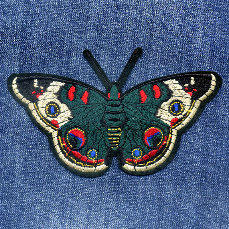 The Emperor Butterfly Patches Embroidery Patch For Iron On Embroidered Badge Sticker DIY Apparel ...