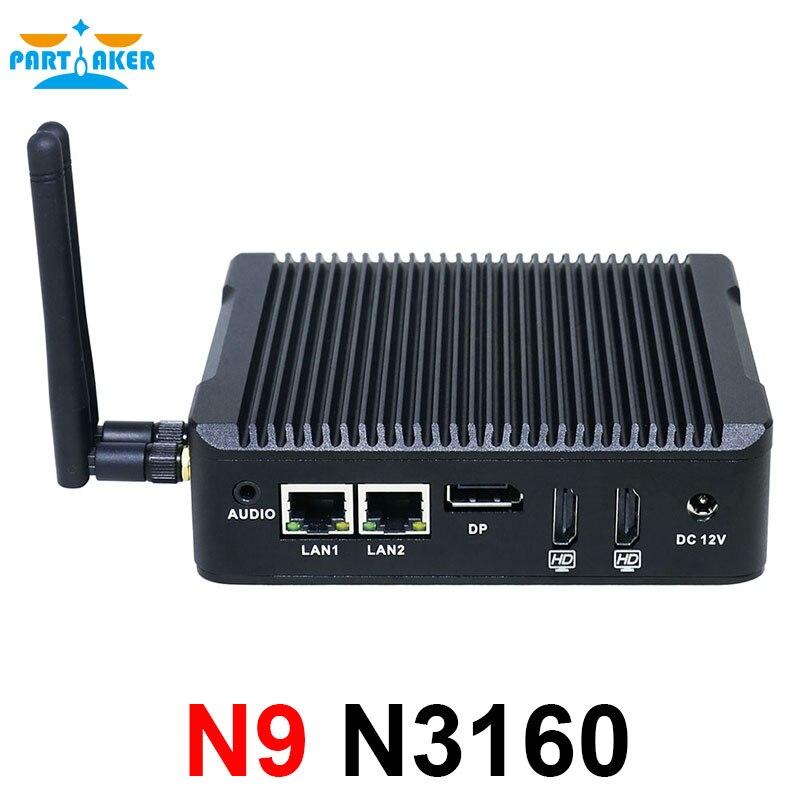 Partaker N9 Mini Pc With 2 Ethernet N3160 Mini Fanless Pc HTPC