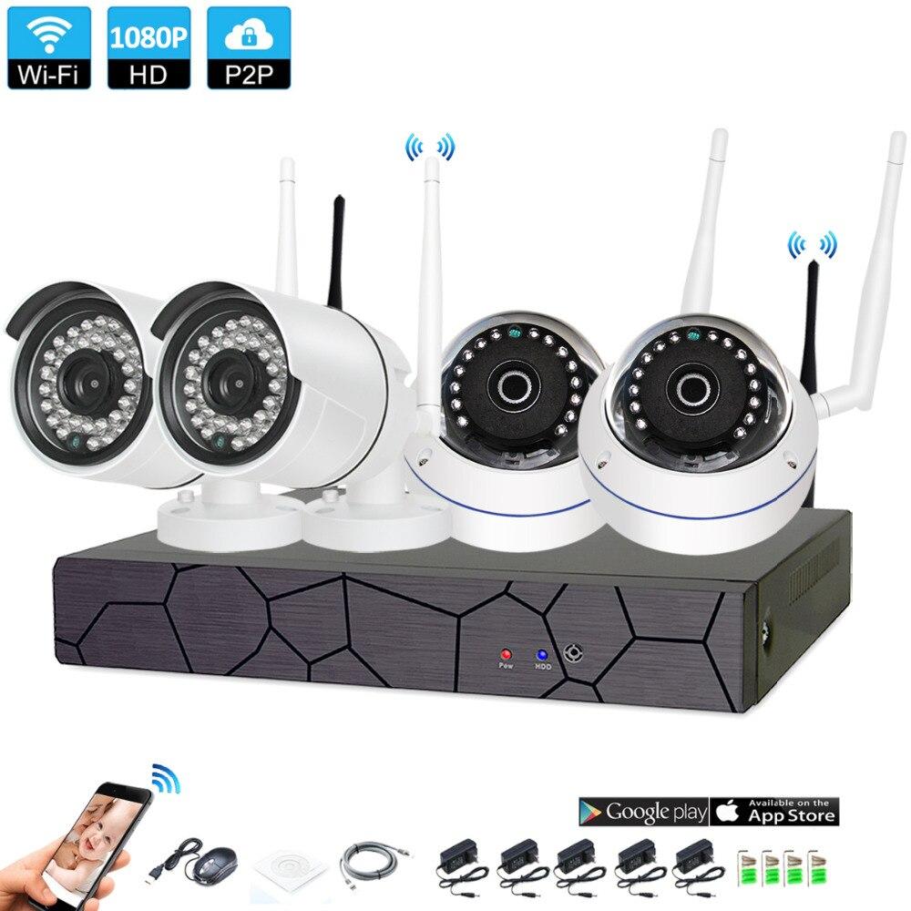 4CH CCTV System font b Wireless b font 1080P NVR 4PCS 2 0MP IR Outdoor indoor