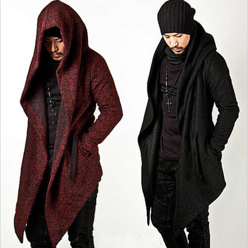 Авангард Для мужчин  Модные Топы Куртка Верхняя одежда капюшон накидка  пальто мужской осень-зима 0bab523bd97