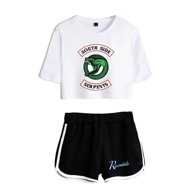 New Tracksuit Women Pullover Tops and Pants Casual 100% Cotton Suits Riverdale South Side Crop Top Shorts Two Piece Outfits