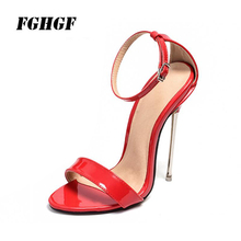 Exclusive New Sexy Summer High Heels Sandals Women Shoes Red Color Metal And Pointy Stiletto Fashion Design