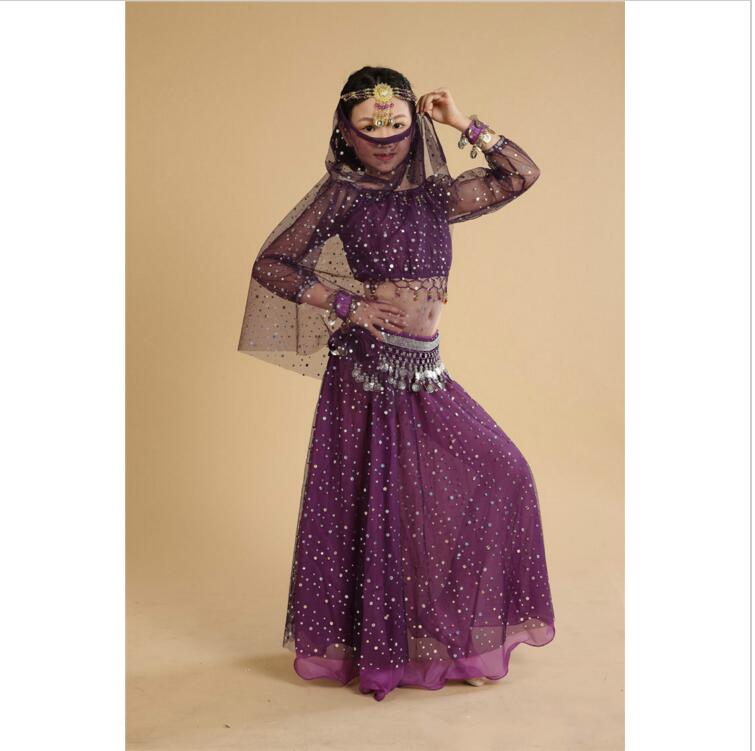 Children Indian Dance 5-piece Girls Costume Set (Top, Dress, Veil , Waist Chain And Bracelet ) Bollywood Dance Costumes
