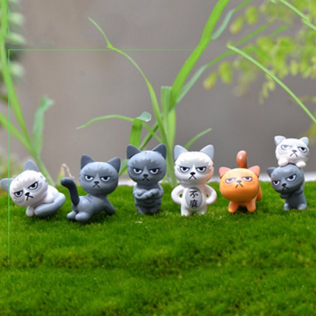 6 Pcs Résine Chat Jardin Figurine Décoration Miniature Malheureux ...