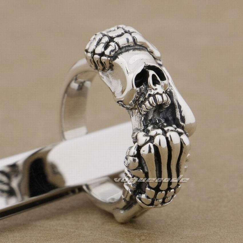LINSION 925 Sterling Silver Skull Hands Ring Mens Biker Rock Punk Ring 9K023 handmade 925 sterling silver joker skull ring mens biker rock punk ring ta78a