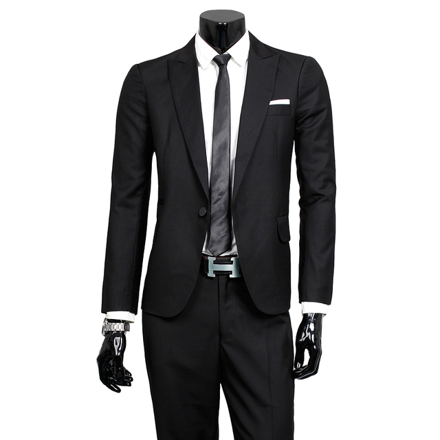 2015 fashionable man fall high-grade groom suit/Male high quality pure cotton slim fit suit jackets + pants/Male business coat