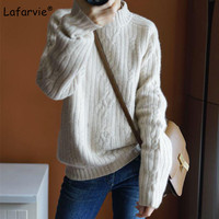 Lafarvie New Autumn Winter Turtleneck Knitted Sweater Women Tops Thick Pullover Female White Soft Warm Knitting