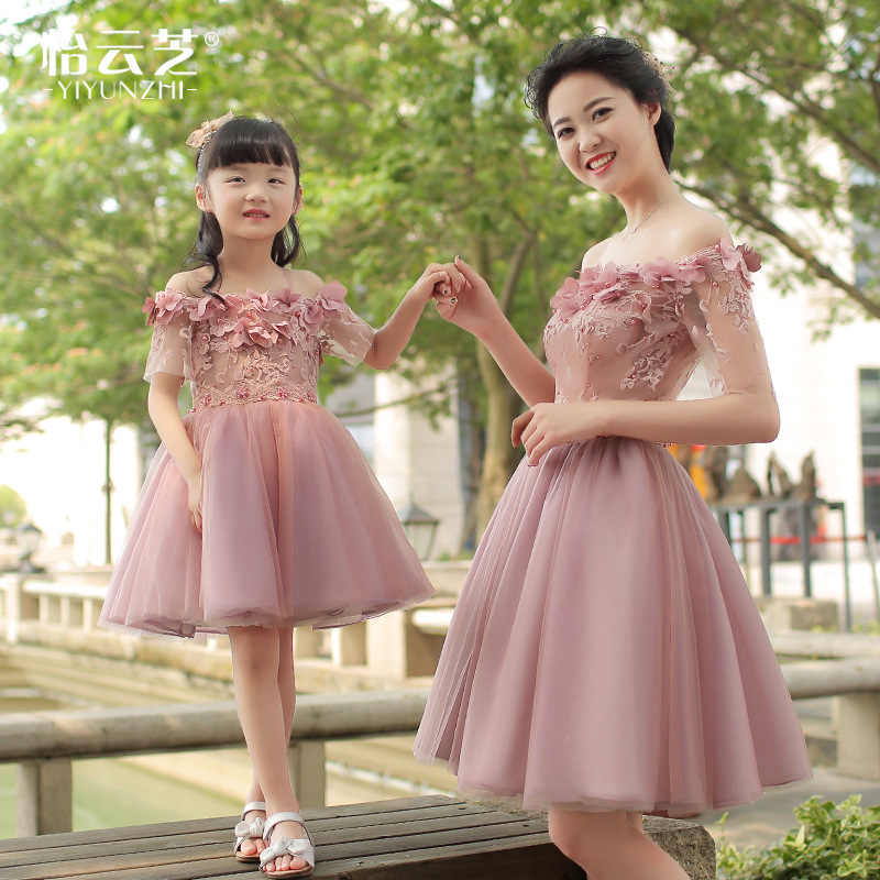 1cc6386fea83e Mother Daughter Wedding Dresses Girls Evening Off Shoulder Lace Flower  Dress Mommy and Me Elegant Clothes Family Wedding Dress