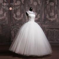 High Neck Puffy Tulle Ball Gown Sheer Top Keyhole Back Wedding Dress Vestidos de Noiva Real Photos