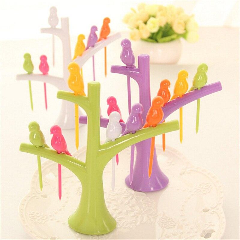 HOT 2018 New Tableware Dinnerware Sets Creative Tree+Birds Design Plastic Fruit Forks 1 Stand+6 Forks Hot Sale Vegetable Fork