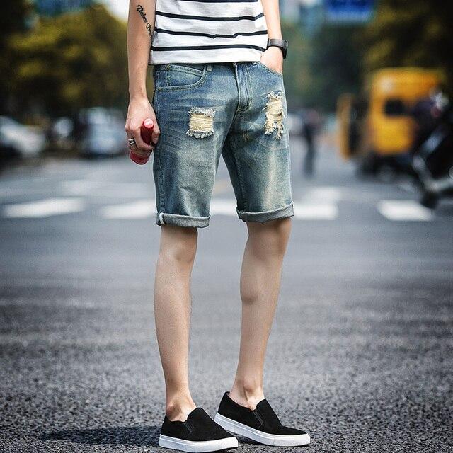 12ab2736eb84f Brand Summer Vintage Style Men s Denim Shorts Ripped Short Men jeans shorts  Male Blue Slim Fit