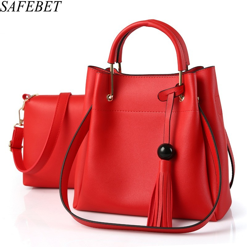 SAFEBET Brand Fashion Luxury High Quality PU Ladies OL Commuter Atmosphere Women Messenger Bags Shoulder Bags Hand bag 2 Pieces