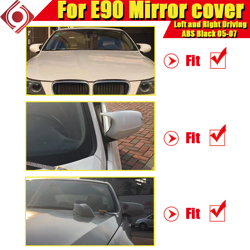 Image 2 - M3 Look Mirror Cover Cap Add on Style ABS Gloss Black For BMW E90 3 Series Sedan 1:1 Replacement 2 Pcs Side Mirror Cap 2005 2007-in Mirror & Covers from Automobiles & Motorcycles