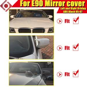 Image 2 - M3 Look Spiegel Abdeckung Kappe Hinzufügen auf Stil ABS Gloss Schwarz Für BMW E90 3 Serie Limousine 1:1 Ersatz 2 Pcs seite Spiegel Kappe 2005 2007