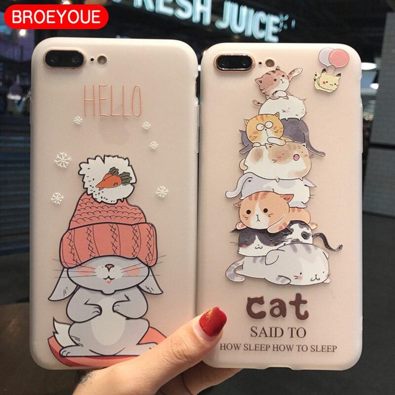 Galleria fotografica BROEYOUE Case For Samsung Galaxy S7 Edge S8 Plus Cover Soft TPU 3D Relief Cartoon Animal Cat Cases For Samsung Galaxy S8 S7 Edge