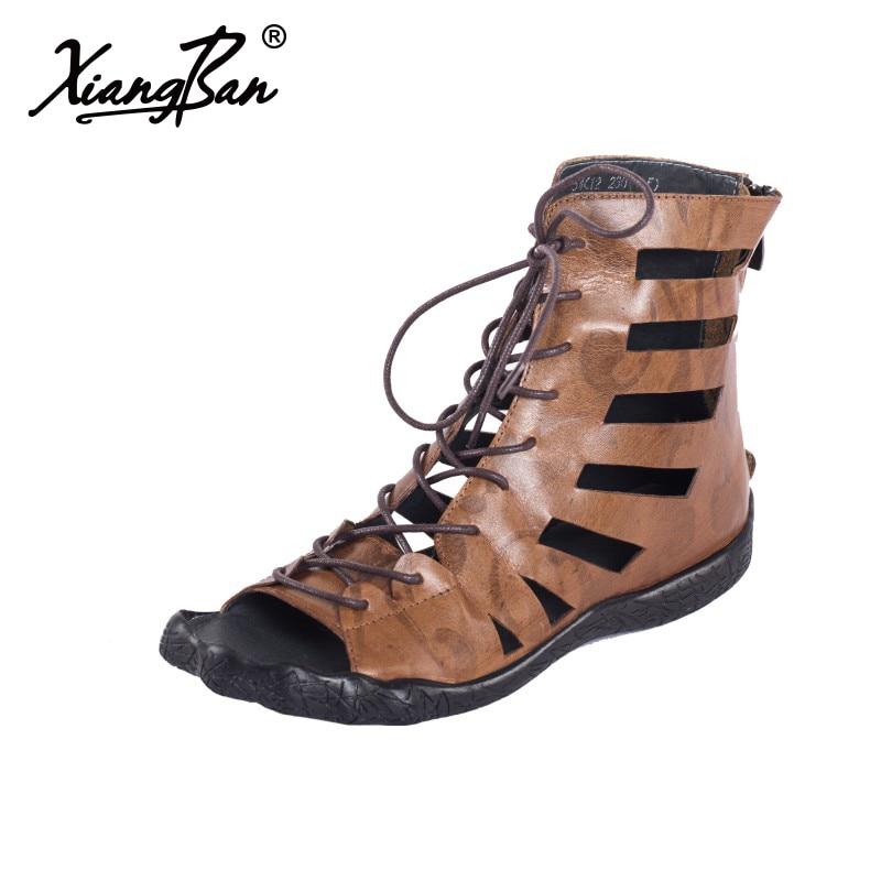 3eefbb05bd50 65k22 British sandals tie cool Original embossed women cross boots flat  handmade summer shoes flat leather ...