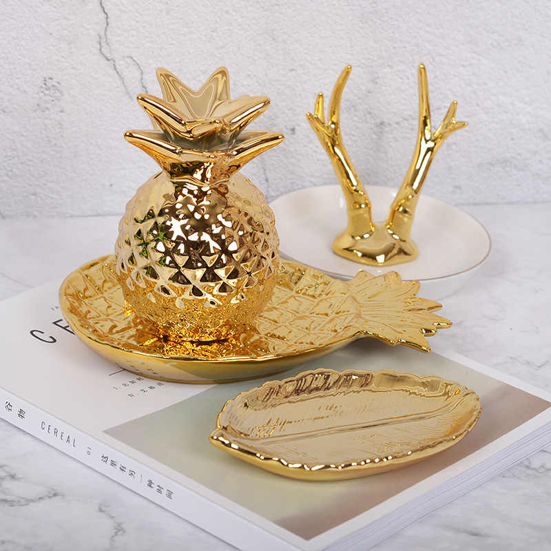 Da tavolo Ornamenti Forma di Ananas di Stoccaggio Vassoio Piatto di Oro Dei Monili Contenitore di Supporto Da Tavolo Decor Figurine In Miniatura Complementi Arredo Casa