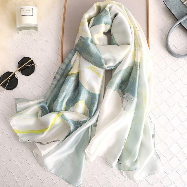 Новый элегантный для женщин шелковый шарф с цветочным принтом шали и палантины леди большой пашмины Пляж cover up шарфы для хиджаб