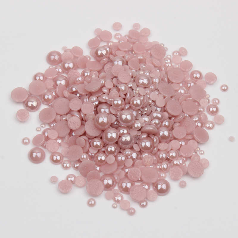 New sale Mix Size Ceramic Rhinestones Lt purple Half Round Pearls 1000pcs/lot for DIY Nails Art Garment free shipping