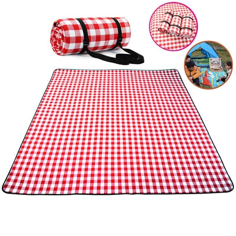 Engrossar almofada respirável cobertor macio para dobrável ao ar livre cobertor impermeável acampamento praia xadrez piquenique esteira