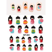 UPRETTEGO NAIL art SCHÖNHEIT WASSER AUFKLEBER SLIDER NAGEL AUFKLEBER CARTOON CUTE JAPANESE TRADITIONELLEN KIMONO MÄDCHEN PUPPEN RP091-096(China)
