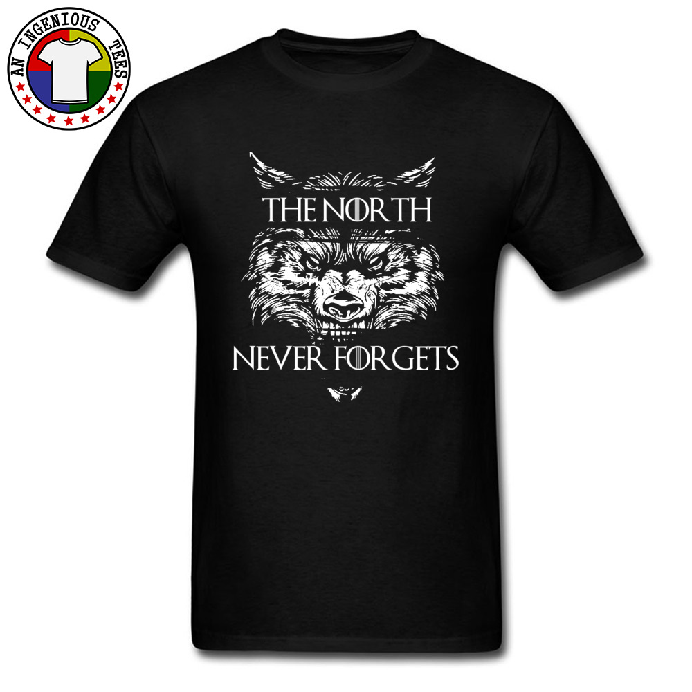 Men T Shirts The-North-Never-Forgets Printing Tops T Shirt Cotton Fabric Round Collar Short Sleeve Slim Fit Tshirts Autumn The-North-Never-Forgets black