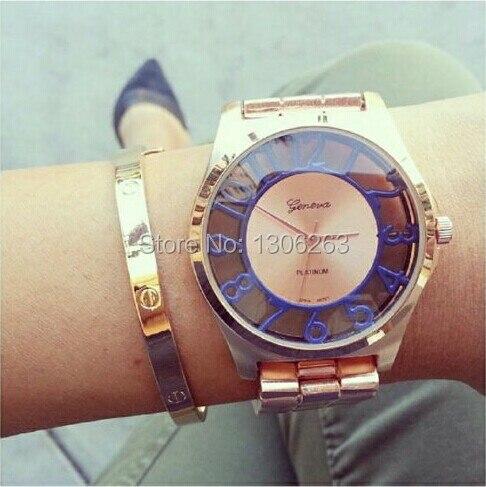 New Metal GENEVA Women Watch Fashion wristwatch Golden Stainless Watch Woman Luxury Gold Color analog watch Hollow Geneva Watch