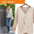 2016 Moda Mujer Blusas Casual Patchwork Knitting Gasa Top Blusas femininas Camisas Plue tamaño XL
