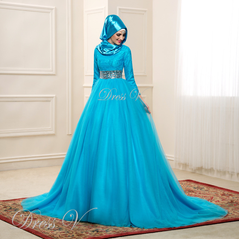 Ball Gown Wedding Dresses With Color : Aliexpress buy ice blue color long sleeves lace