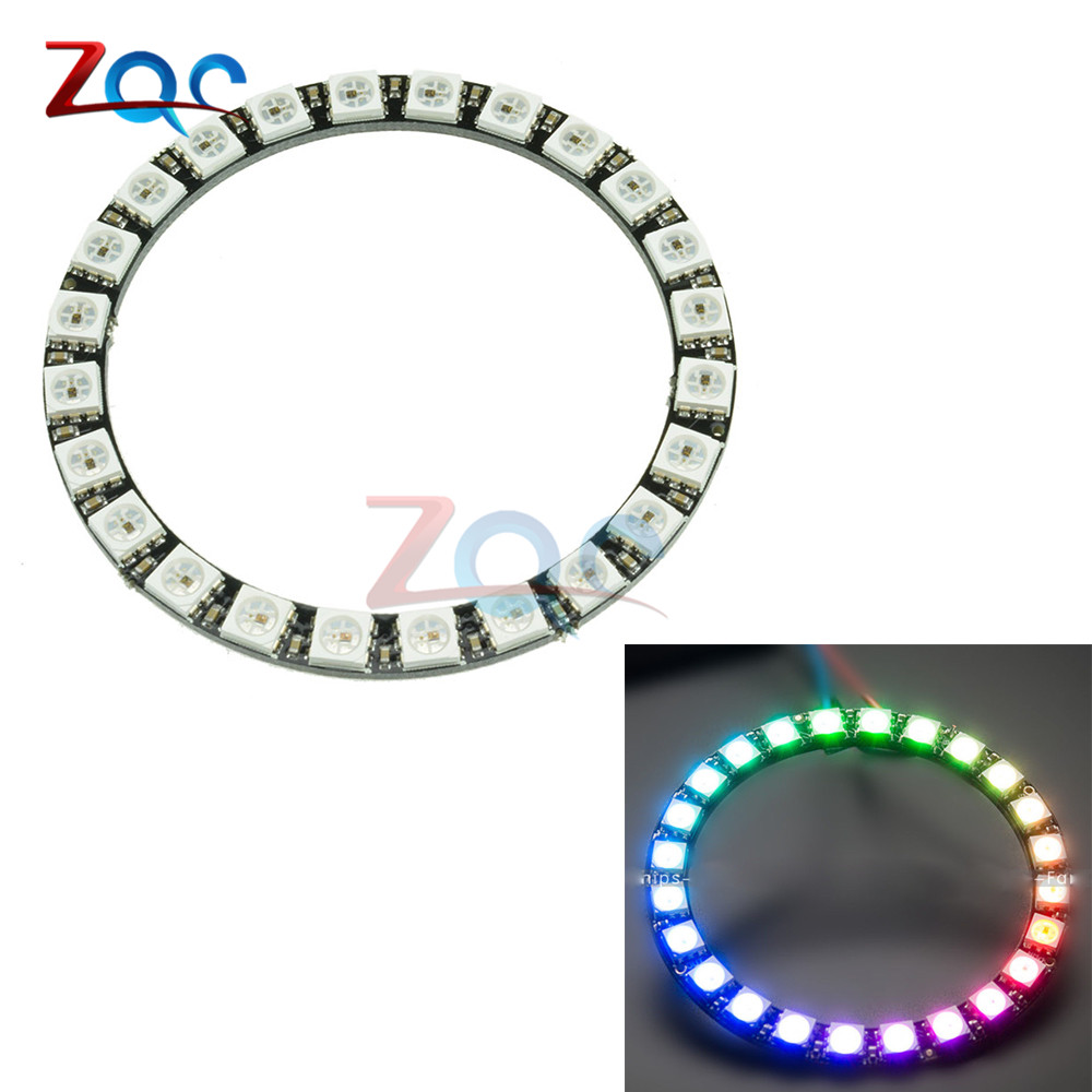 WS2812B Module Strip 24 Bits 24 X WS2812 5050 RGB LED Ring Lamp Light with Integrated Drivers RGB 24 For Arduino 10w 3 series 3 in parallel integrated 9 led rgb light source module silver