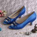 (20 Colors) Blue Women Low Heel Shoes Wedding Bride Pumps Open Toe with Charms