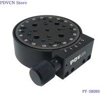 PT SD203 R ציר 360 תואר ידני רוטרי שלב 100mm שלב סיבוב ידני מסתובב פלטפורמת רוטרי שלב,