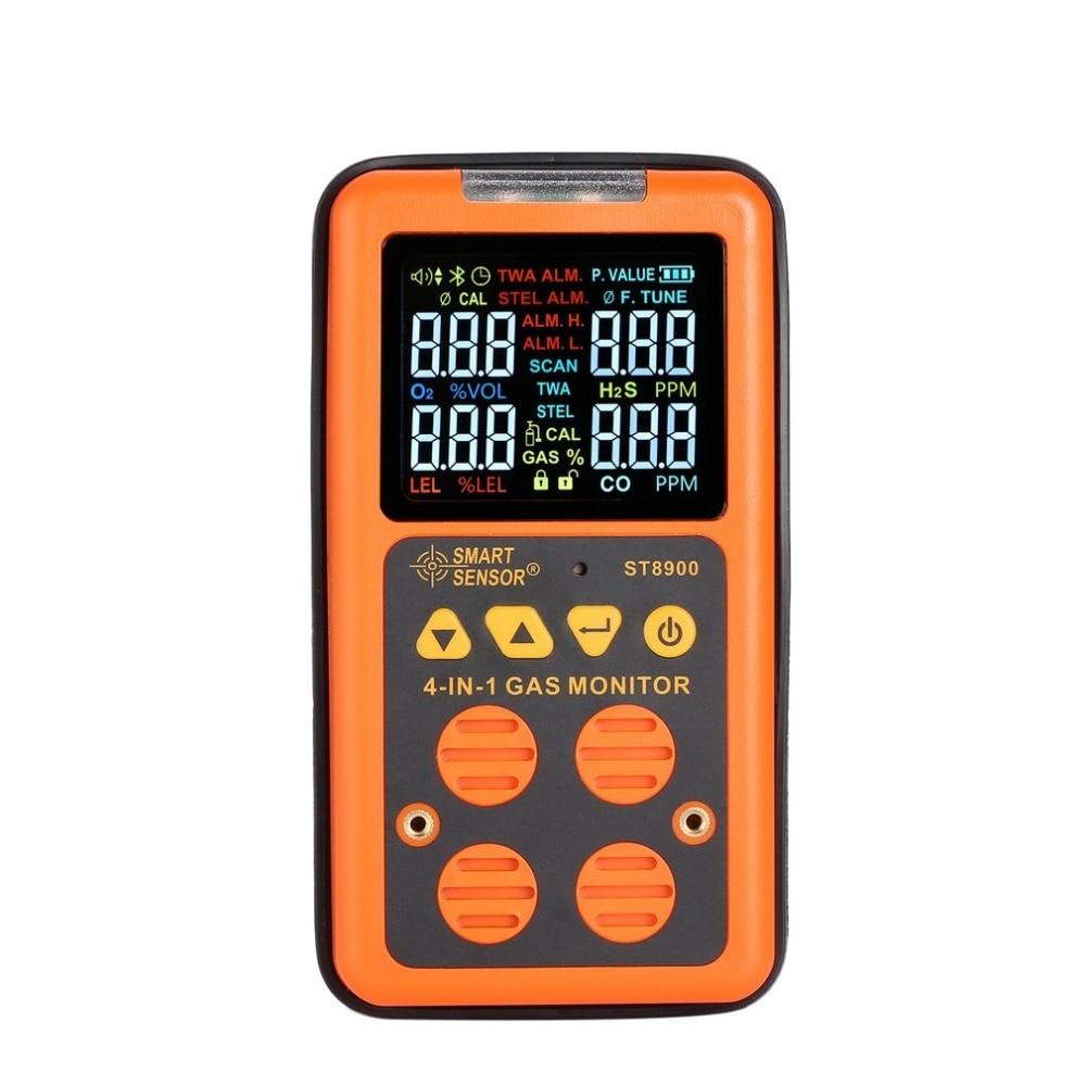 ST8900 4 in 1 Digital Gas Detector O2 H2S CO LEL Handheld Mini Gas Analyzer Air Monitor Gas Leak Tester Carbon Monoxide Meter digital gas detector 4 in 1 o2 h2s co lel handheld mini gas analyzer air monitor gas leak tester carbon monoxide meter
